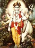 Dattatreya mit allen seinen Symbolzuweisungen