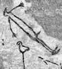 """Abbildung eines Schamanen in der Höhle von Lascaus, ca. 15.000 v. u. Z. Vogelkopf, steifer Körper und erigierter Penis erzählen vom Zustand einer Trance, vom """"Flug des Schamanen""""."""