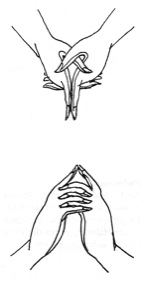 Ksepana = Geste des Bespringens mit dem Nektar der Unsterblichkeit. unten: Ultarabodhi = das Zeichen höchster Erleuchtung.