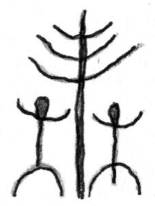 Felszeichnung von Tänzern unter dem Weltenbaum.